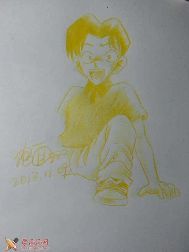 彩铅画柯南图片大全_155幅手绘铅笔画柯南图片