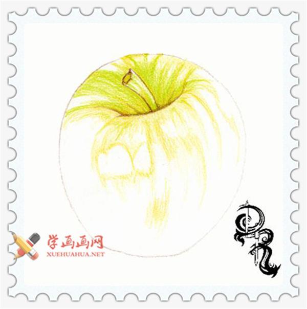 彩铅画教程_怎么画苹果(2)