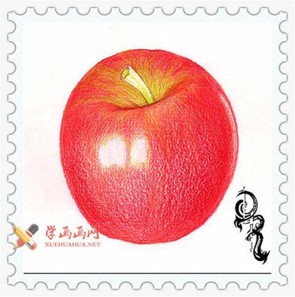 彩铅画教程_怎么画苹果(5)