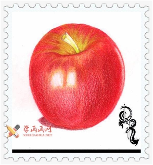 彩铅画教程_怎么画苹果(6)