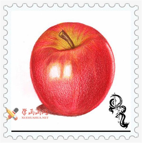 彩铅画教程_怎么画苹果(7)