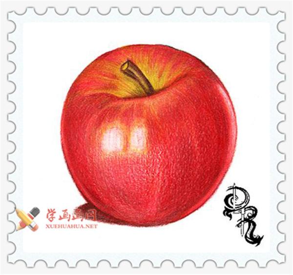 彩铅画教程_怎么画苹果(9)