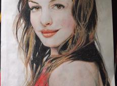 彩铅画美女《安妮·海瑟薇》4幅