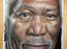 摩根·弗里曼彩铅画图片一幅