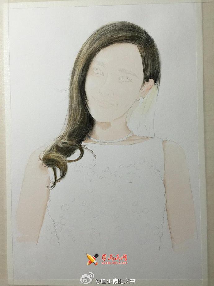 水溶性彩铅画《唐嫣》作画步骤(3)