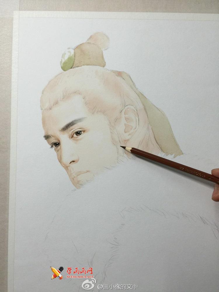 彩铅画琅琊榜《梅长苏》作画步骤(2)