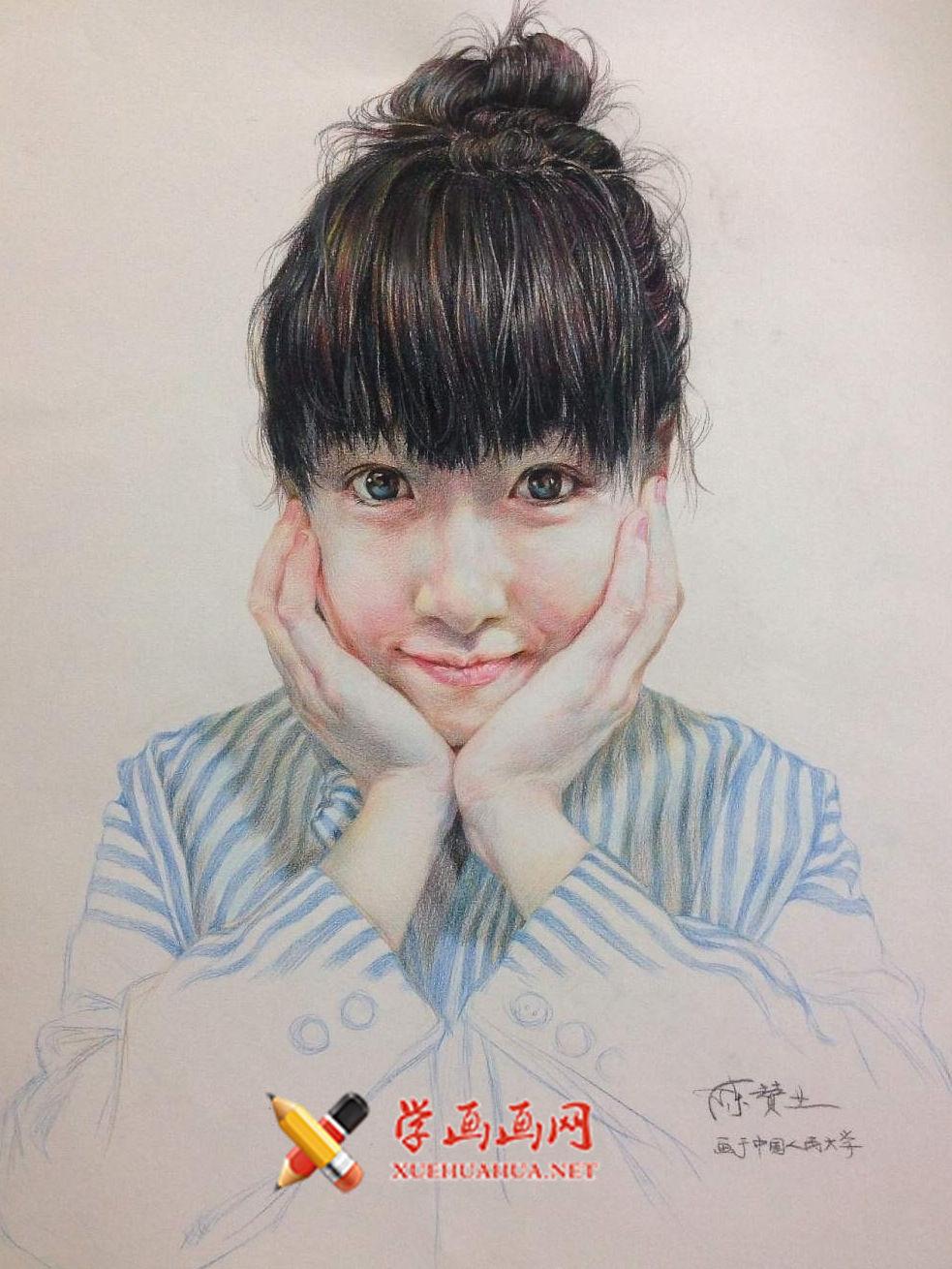 人物彩铅画:托着腮帮的女孩(1)