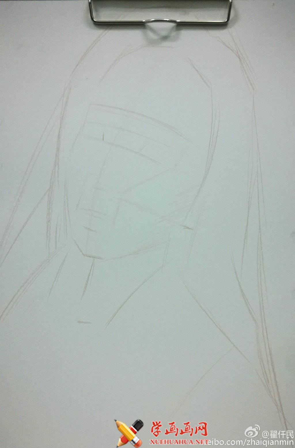 大神手绘彩铅画美女步骤过程(2)