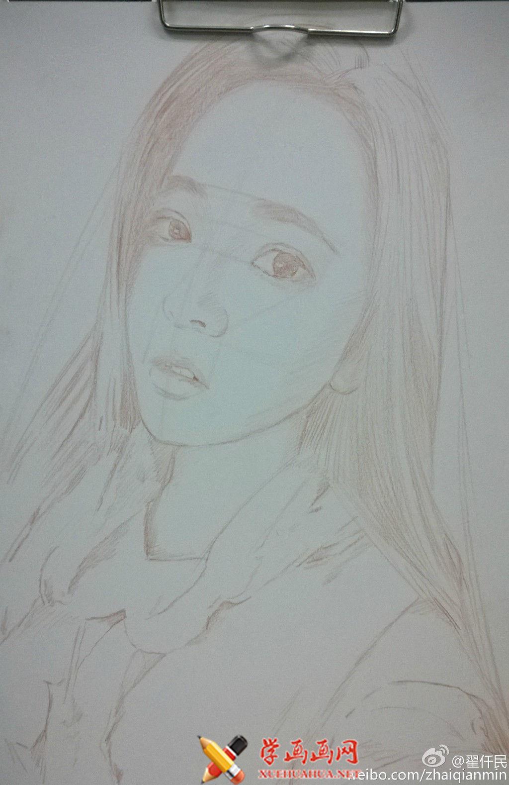 大神手绘彩铅画美女步骤过程(3)