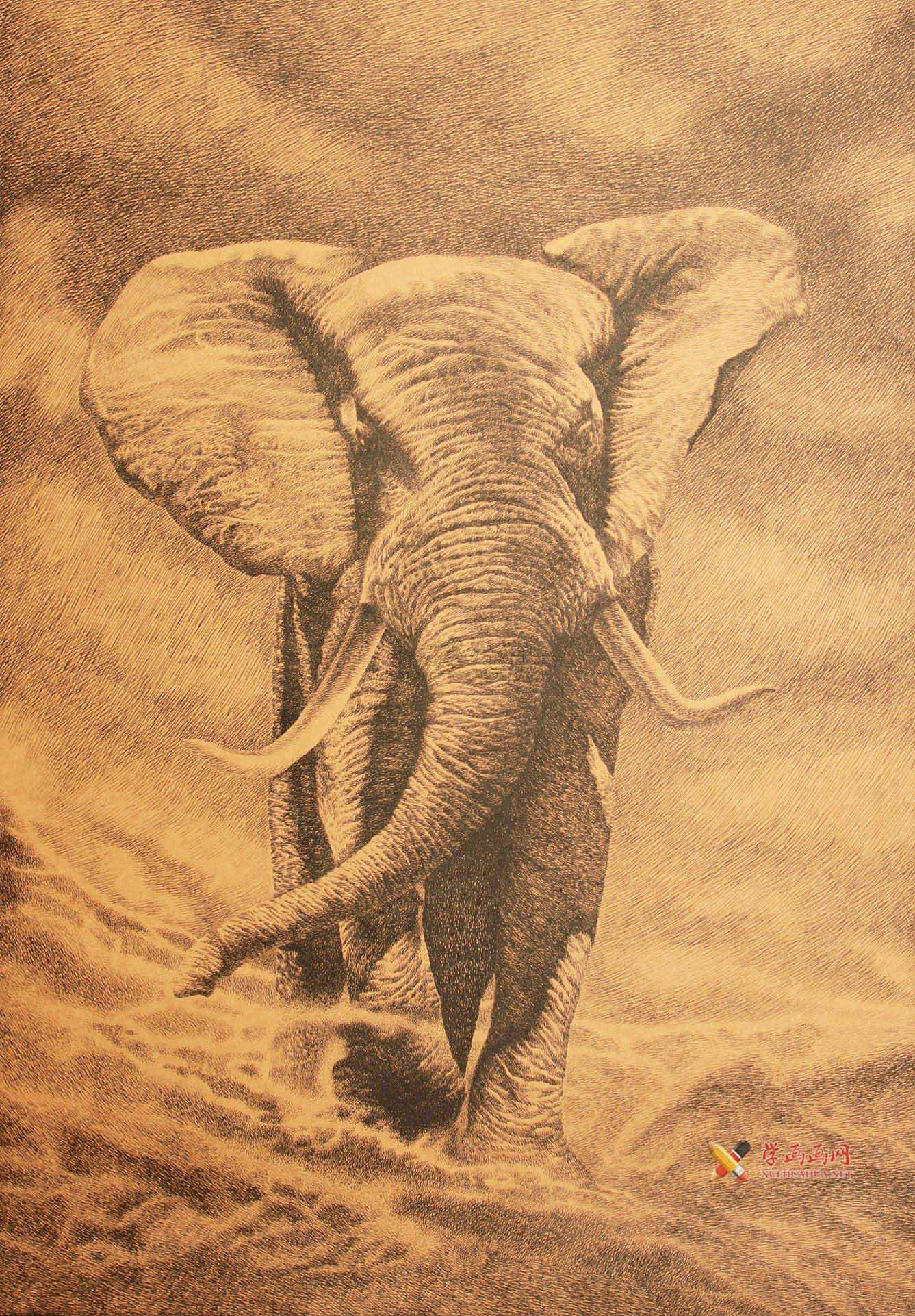 董长生钢笔画作品《吉象如意》(1)