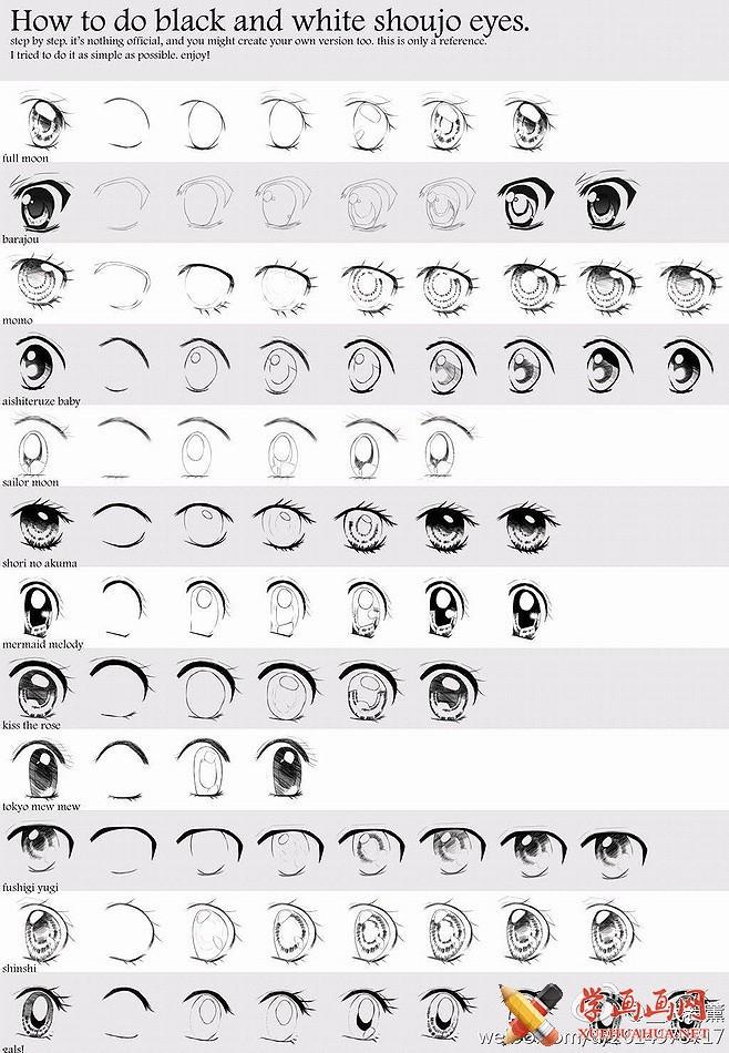 漫画自学教程_可爱水汪汪的大眼睛画法
