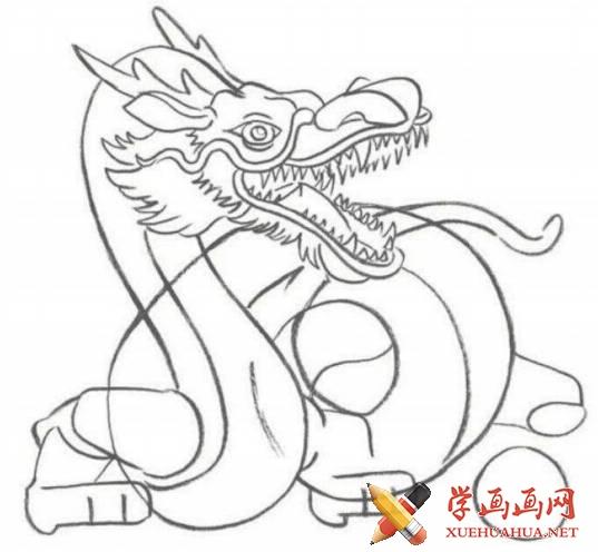 漫画教程_铅笔画中国龙的画法(3)
