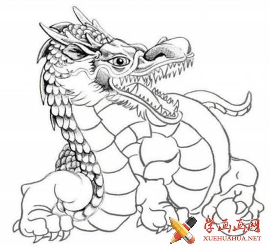 漫画教程_铅笔画中国龙的画法(5)