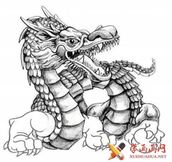 漫画教程_铅笔画中国龙的画法(6)