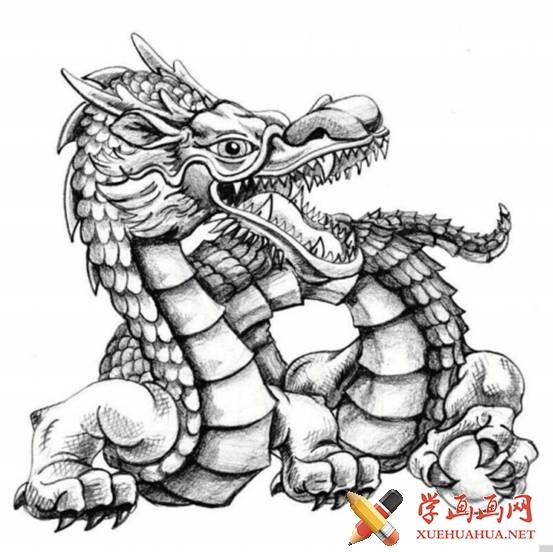 漫画教程_铅笔画中国龙的画法(7)