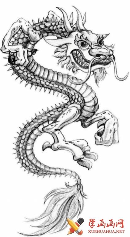 漫画教程_铅笔画中国龙的画法(8)