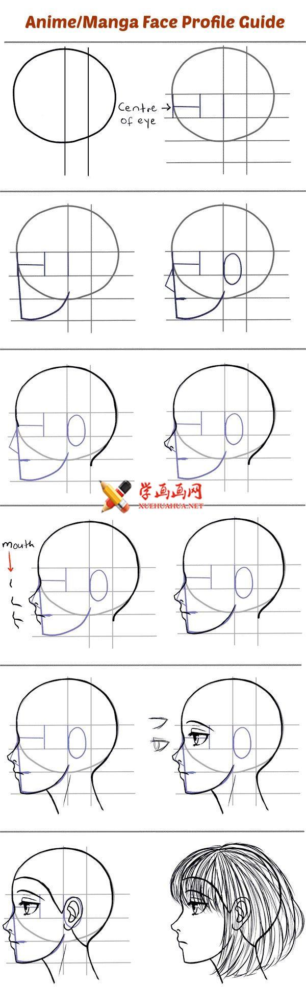 漫画教程:如何画侧面漫画人物的脸(1)