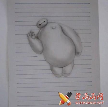 好玩的绘画视频教程:教你画3D大白的画法(1)