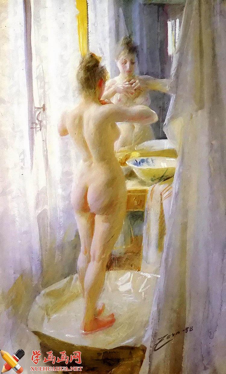 《洗澡的女子》水彩画作品欣赏(1)