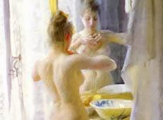 《洗澡的女子》水彩画作品欣赏