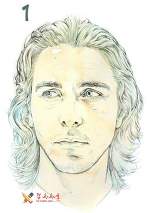 国外长发男子水彩画作画步骤(1)