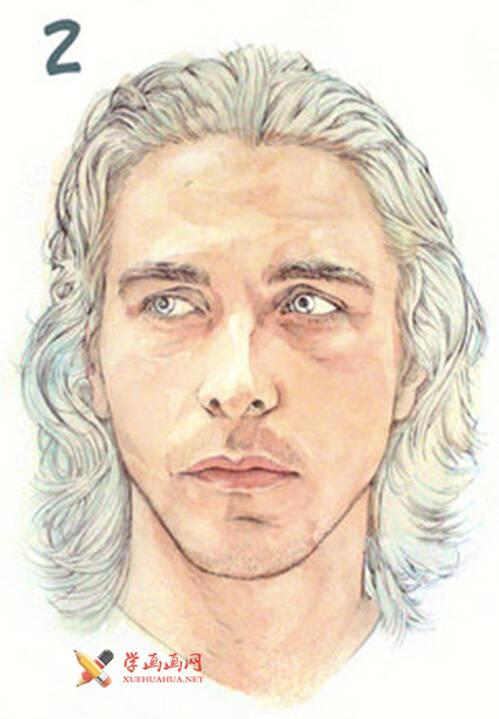 国外长发男子水彩画作画步骤(2)