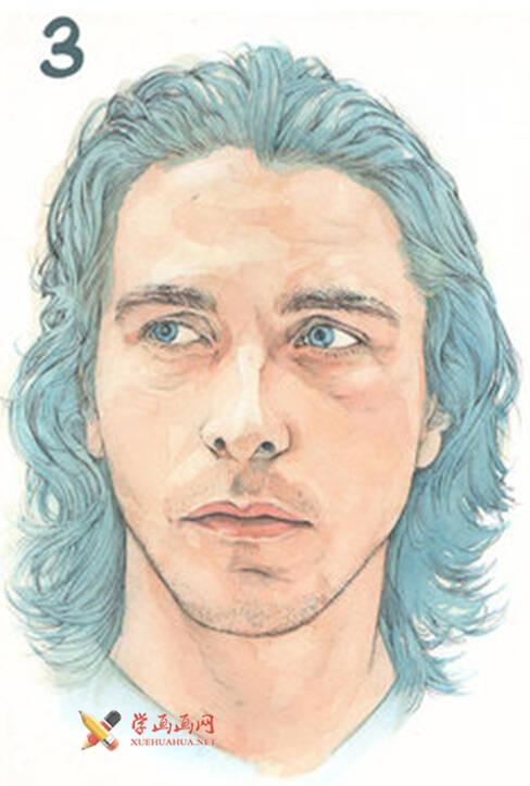 国外长发男子水彩画作画步骤(3)