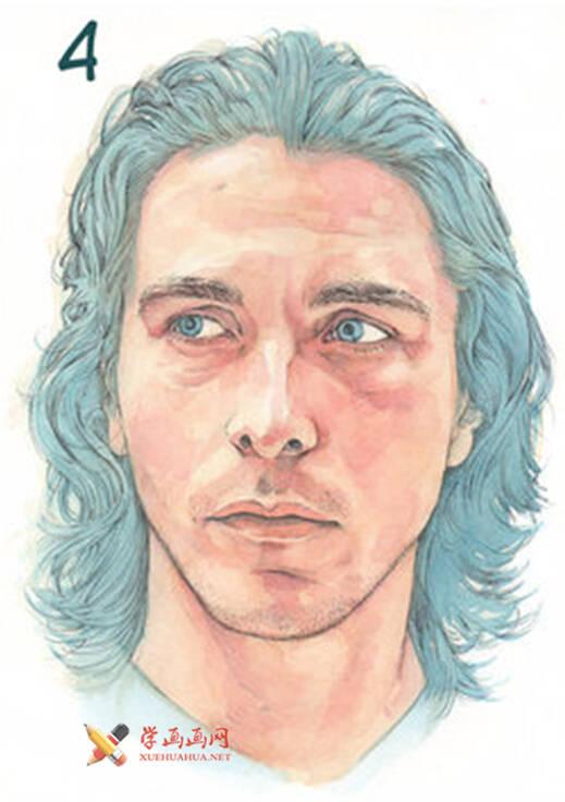 国外长发男子水彩画作画步骤(4)