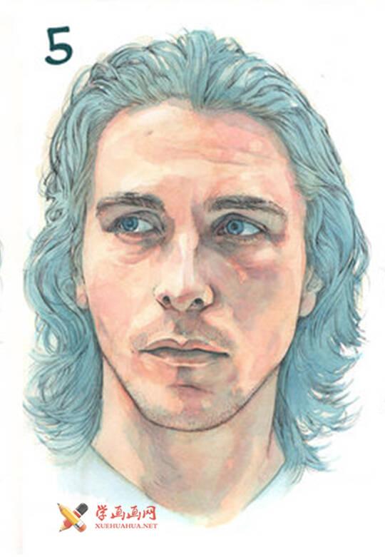 国外长发男子水彩画作画步骤(5)