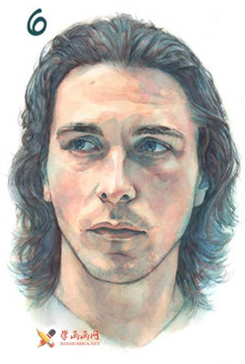 国外长发男子水彩画作画步骤(6)
