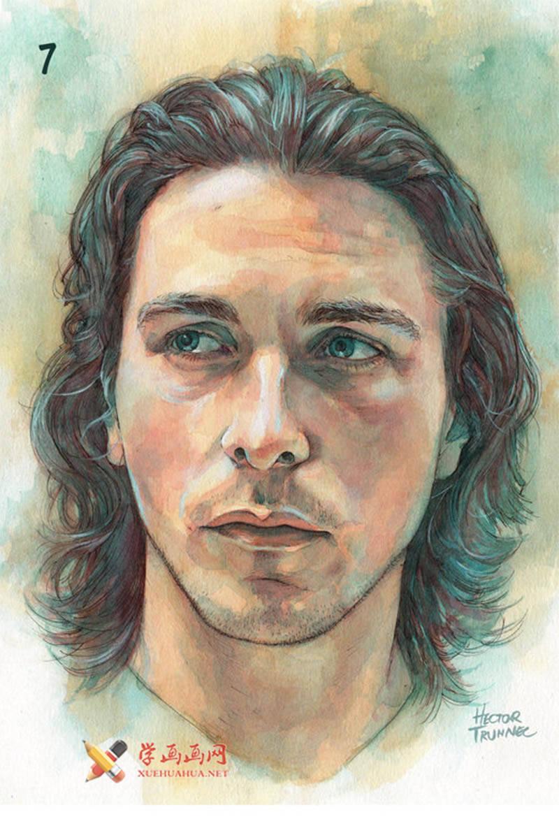 国外长发男子水彩画作画步骤(7)