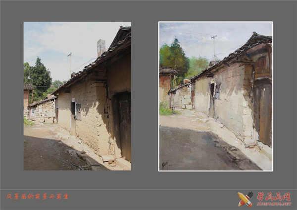 原始照片与完成对比水粉画效果图 绘画步骤1:起稿构图。构图也被称为布局章法,画家根据主题思想和取材的需要,立意布局,将要表现的对象的形象及色彩、明暗、轮廓、形状加以适当的组织、安排、处理,构成谐调完整的艺术画面。用铅笔起稿或用颜色直接简略起稿,对画面可作适当的取舍与调整,要注意安排好画面形体构成关系,处理好色调与色彩的搭配关系,处理形体的点线面的节奏与旋律以及空间透视、主次强弱、虚实疏密对比关系,,使画面富有节奏感和秩序感。
