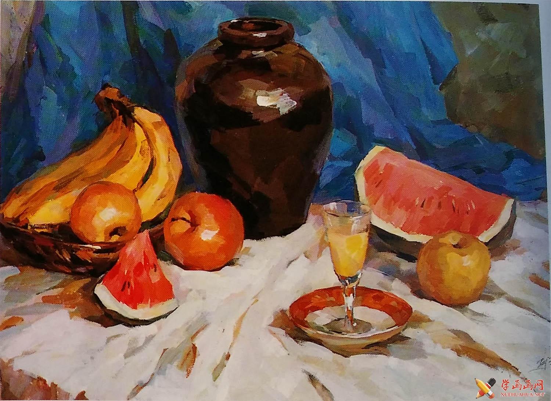 水粉画静物教程:陶罐,香蕉