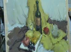 水粉静物视频教学:红酒瓶、玻璃杯、水果、黄绿衬布组合