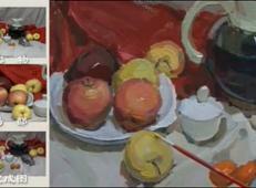 视频:水粉画静物写生步骤教程(陶罐、苹果、橘子、瓷盘、茶杯组合)
