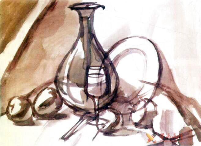 水粉画静物教程_《红衬布上的红瓷瓶与水果》写生步骤(1)