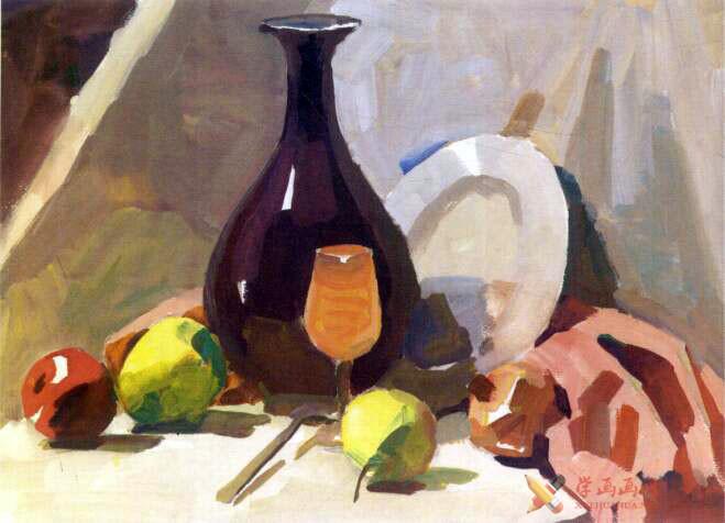 水粉画静物教程_《红衬布上的红瓷瓶与水果》写生步骤(3)