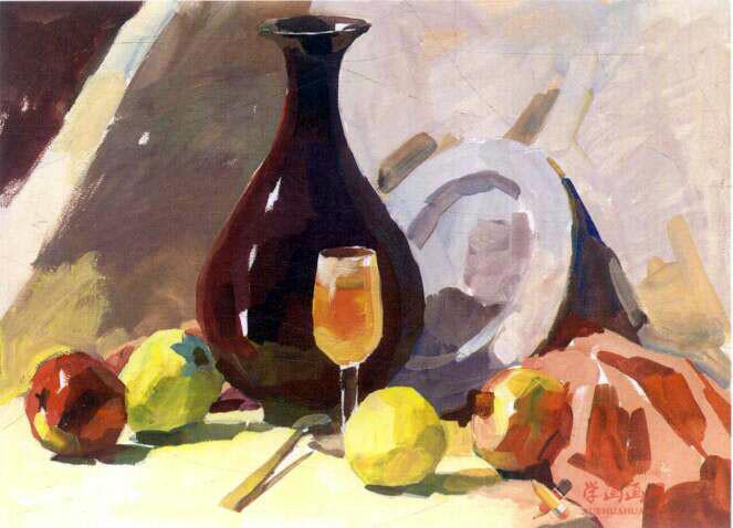 水粉画静物教程_《红衬布上的红瓷瓶与水果》写生步骤(4)