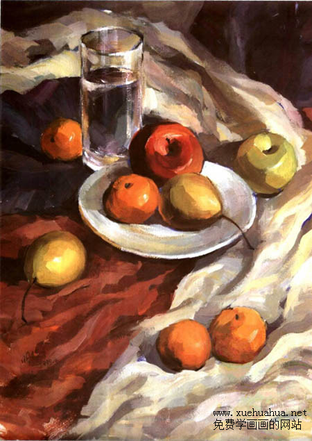 水粉静物写生图文步骤(水果、白瓷盘、透明水杯)完成效果