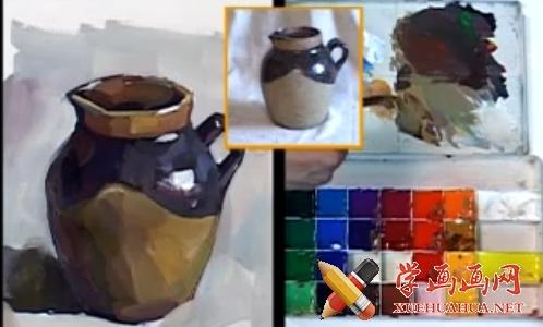 水粉画陶罐的画法(1)