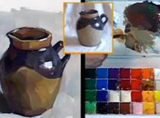 水粉画单体静物视频:陶罐的画法