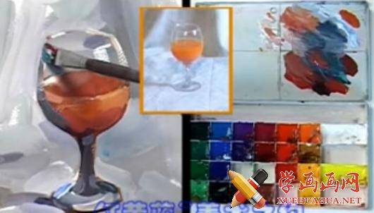 水粉画单体静物视频教程:《透明玻璃杯的画法》(1)