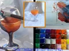 水粉画单体静物视频教程:《透明玻璃杯的画法》
