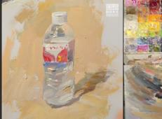 水粉画单体视频教程:矿泉水瓶的画法