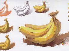 水粉画香蕉的画法单体步骤图解