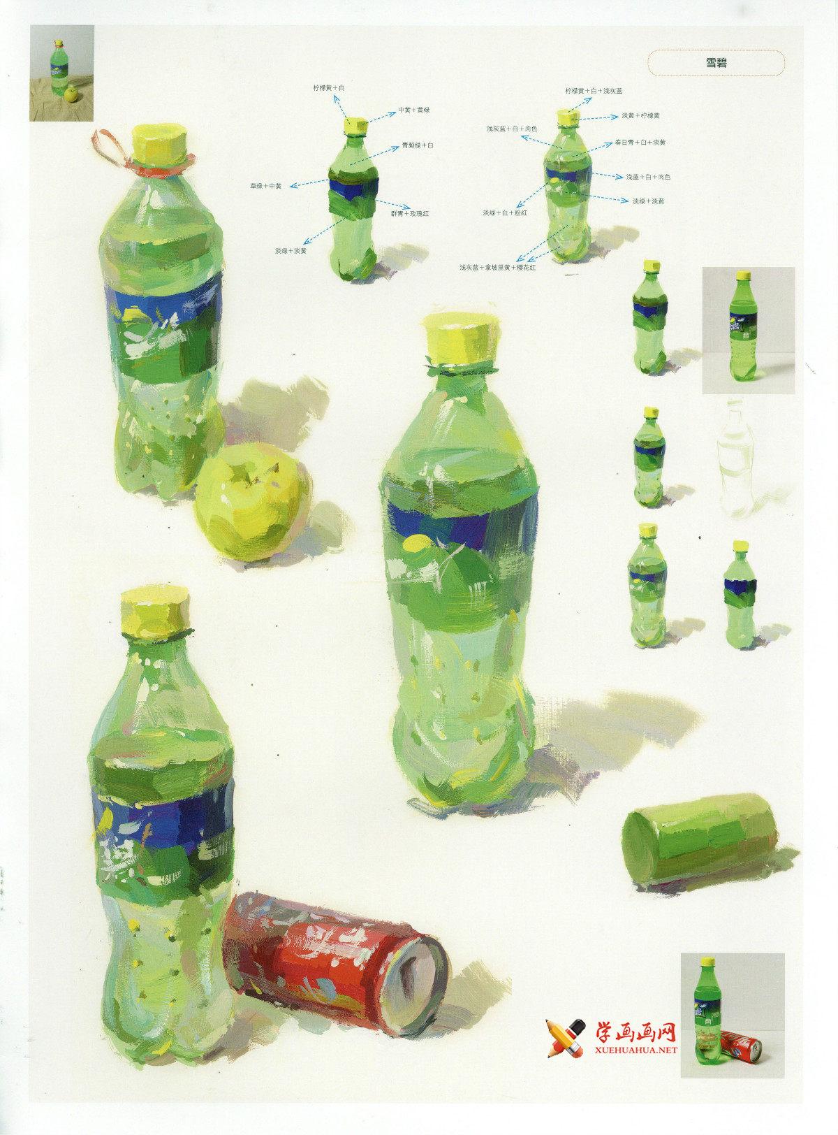 水粉画静物单体雪碧瓶的画法图示要点(1)