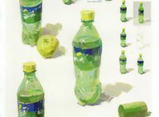 水粉画静物单体雪碧瓶的画法图示要点