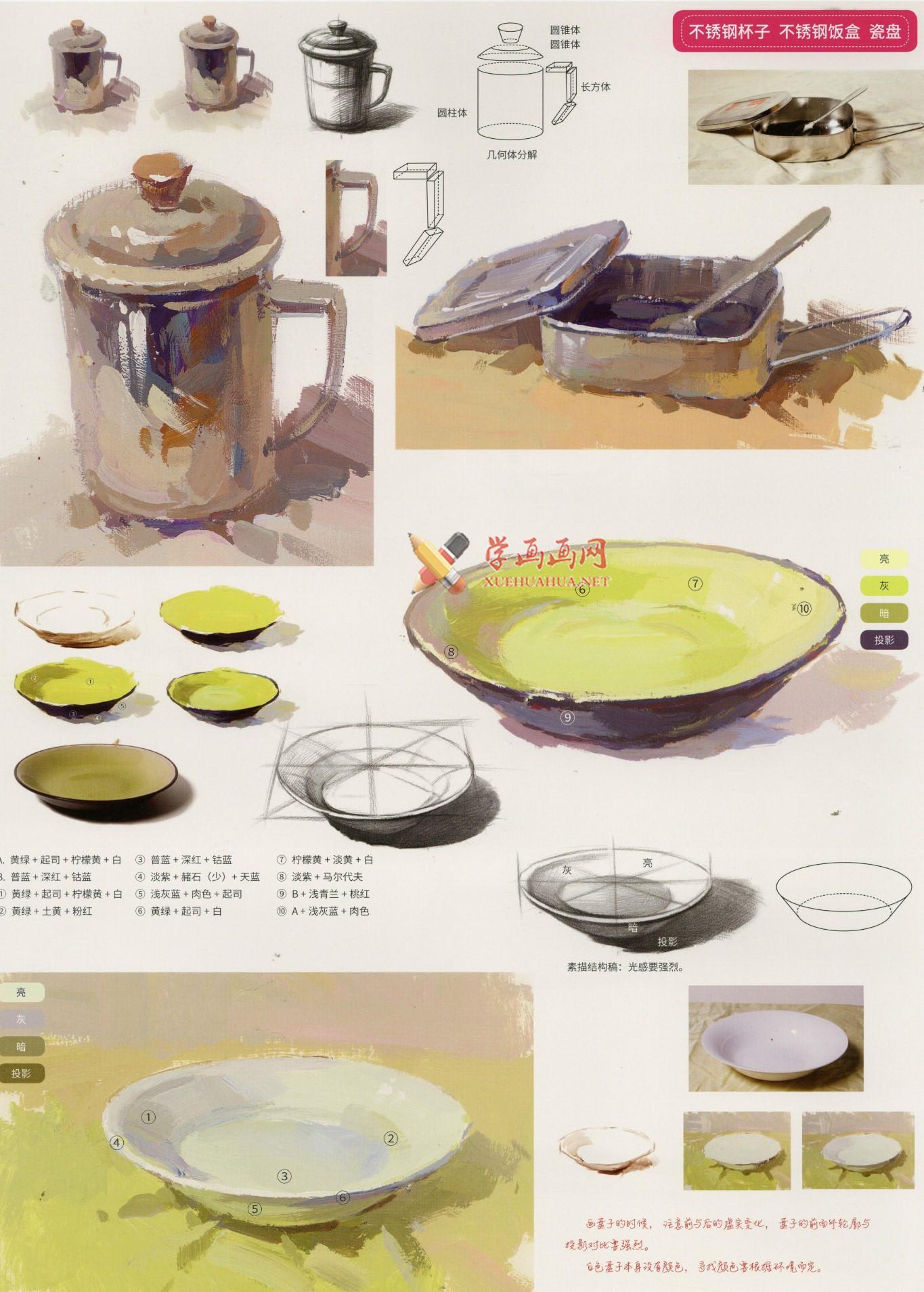 水粉画不锈钢物体的画法要点_水粉画不锈钢物体范画临摹素材(3)
