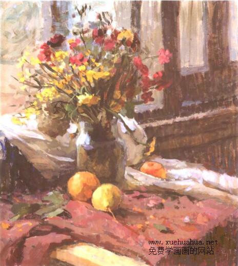 水粉画-窗台上的花