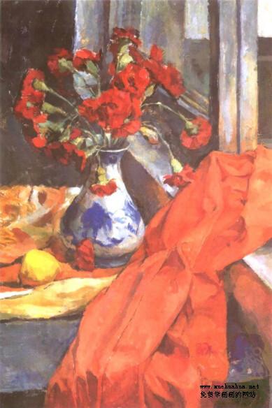 水粉画作品赏析-青花瓷瓶、红色康乃馨